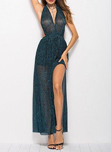 fc511e73a48 Bal Femme Maxi Bleu Paon V Nu Col Robe See Bigood through Foncé Dos  Polyester R8FCH