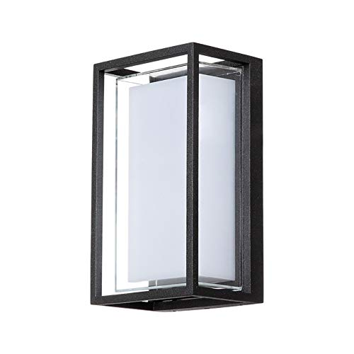 Ip65 Bulkhead - VOVOVO LED IP65 Waterproof Wall Lamp, 9W White 3000K Indoor Outdoor Diamond Bulkhead Rainsafe Sconce Matte Black Indoor Outdoo Wall Sconce Up Down Light