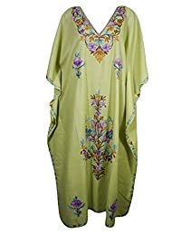 Mogul Womens Caftan Kashmiri Embroidered Kimono Housdedress Desiger Kaftan