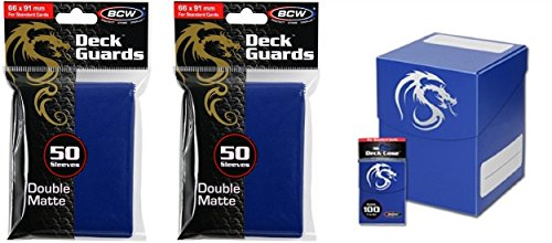COMBO- BCW BLUE Large Deck Case plus 2x 50ct Pks (100) of BLUE Double Matte Deck Guard Sleeves for Collectable Gaming Cards like Magic The Gathering MTG, Pokemon, YU-GI-OH!, & More. Dragon Graphic on BOX.