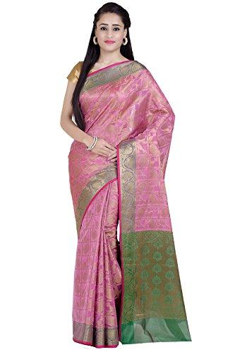 Chandrakala Women's Pink Cotton Silk Blend Banarasi Saree,Free Size(1280PIN)
