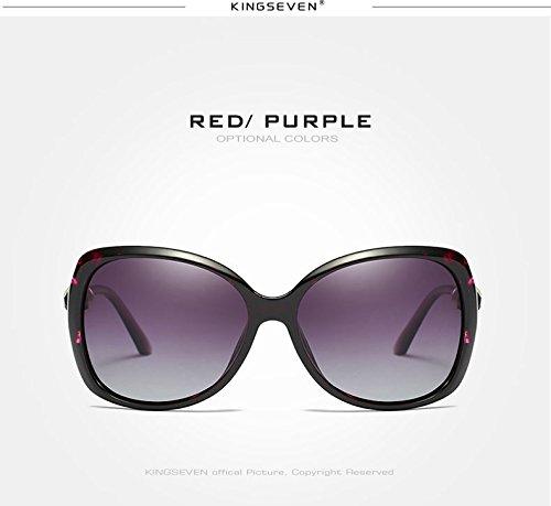 Modificada púrpura Gafas Azul Polarizadas Perla Tono Mujer De Dama del Sra Rojo Gafas Limotai Gris Gafas Elegante Solla TYw4OBwqp