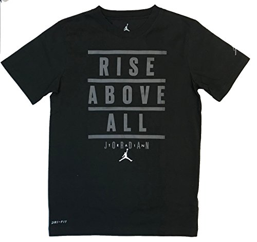 Nike Air Jordan Boys' Dri-Fit Cotton T-Shirt (Black, Medium)