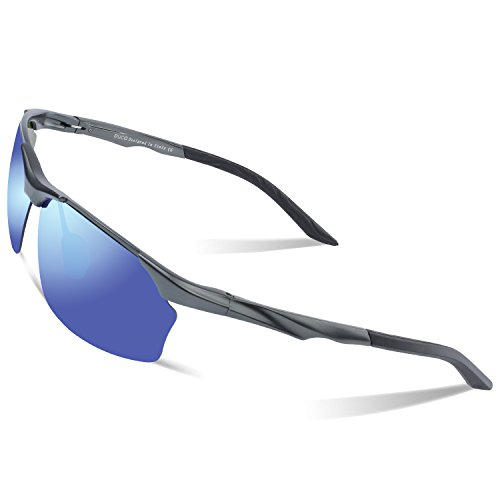 Duco Polarized Sunglasses For Cycling Fishing Golf Unbreakable Men's Shades 8513 (Gunmetal Frame Revo Blue (Gunmetal Polarized Shades)