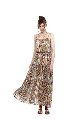 Free People Womens Valerie Floral Print Tiered Maxi Dress Green XS (Print Dress Maxi Tiered)