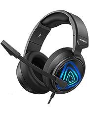 Auriculares Gaming PS4, Mpow-318 Sonido Envolvente, Cascos Gaming Grande LED, Micrófono de Reducción de Ruido, para Nintendo Switch, PC, Xbox One, 50mm Conductor, Control de Volumen, Cable de 2.2m