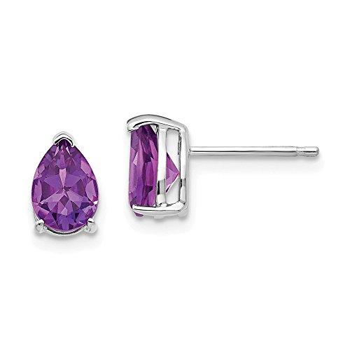 (14k White Gold 7x5mm Pear Purple Amethyst Post Stud Earrings Fine Jewelry Gifts For Women For Her)