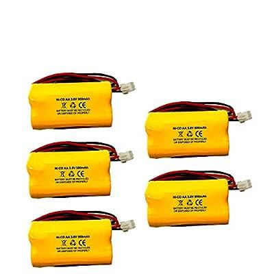 (5 Pack) AA900MAH Unitech 6200RP LEDR-1 Lowes 253799 Exitronix 10010037 3.6v 900mAh Ni-CD Battery Pack Replacement for Emergency/Exit Light TOPA 3.6V AA900mAh Max Power B2-0031 MH468886