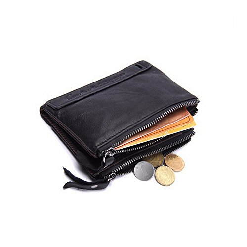 Milled Cowhide (Botrong Men's Leather Wallet Crazy Horse Double Zipper Short Purse (Black))