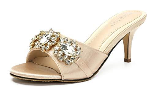 Womens Low Heel Mules Rhinestone Slip On Slide Sandals Open Toe Kitten Heels Shoes Champagne US6 EU36 ()