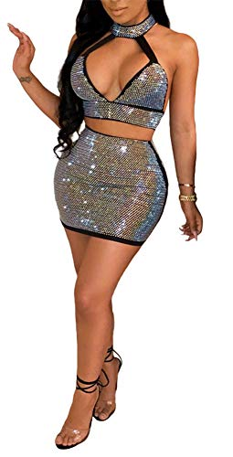 (Women Sexy 2 Piece Dress Sparkling Rhinestone Halter Hollow Crop Top Mini Skirt Set Outfits Black)