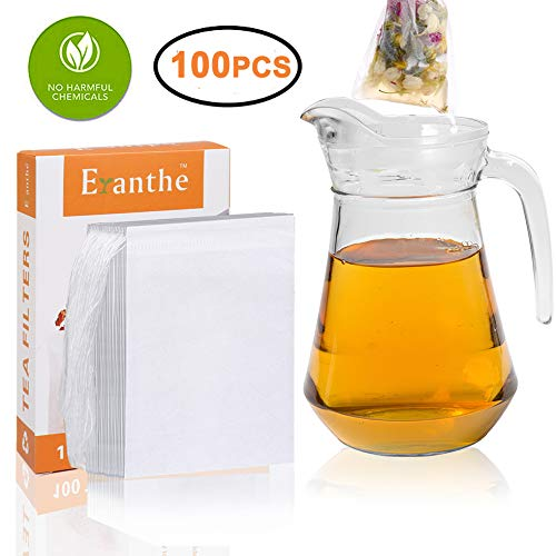 100Pcs Tea Filter Bags Large, Disposable Empty Tea Bag with Drawstring Safe & Natural Material, 3-Cup Capacity, Fill your own Tea Bags for Herb, Coffee & Loose Tea by Eranthe