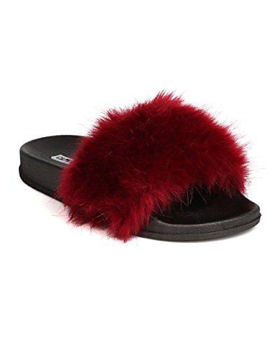 Alrisco Cape Robbin GK31 Women Furry Open Toe Slip on Flat Sandal Wine 2j9Rk2kIO6