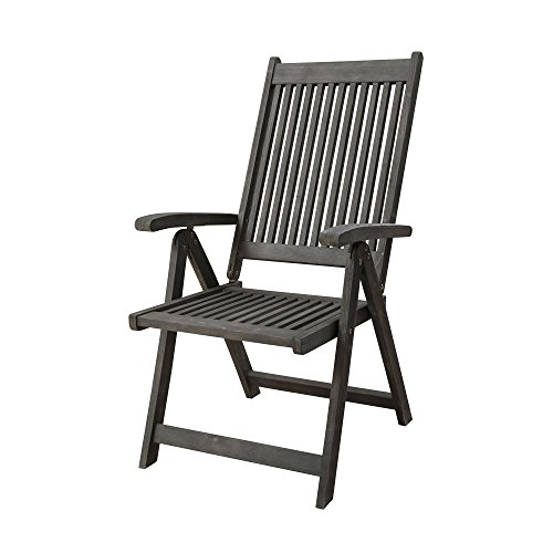 Vifah V1803 Renaissance Outdoor Patio 5-Position Reclining Chair, Hand-Scraped Wood