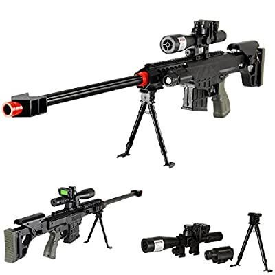 "36"" Elite Airsoft Sniper Rifle 315FPS with Laser, Light, Bipod, and DUMMY Scope - #1 Seller -"
