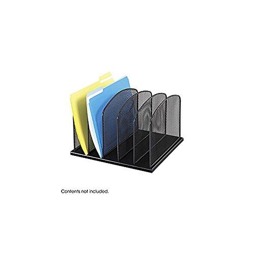 Onyx Mesh Desk Organizer, 5 Upright Sections, Black-BL electronic (Onyx 5 Upright Sections)