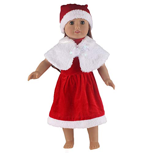 Cinhent Toys, 1 Set Christmas Decoration Costume Dress Uniform Outfit for 18 inch American Girl Doll, Popular Pretend Play Home Learning Creative Party Favors Gift