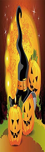 Halloween 3D Decorative Film Privacy Window Film No Glue,Frosted Film Decorative,Witches Hat Spooky Pumpkins Magical Night Autumn Nature Full Moon,for Home&Office,23.6x70.8Inch Light Orange Green Blac ()
