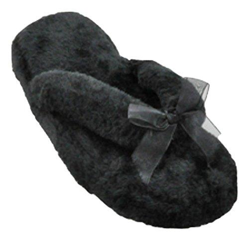 Beaute Fashion Spa Slippers Slipper Slipper Pantoffel Ultra Zachte Dames Pluche Gezellige Antislip Slippers - Geweldig Voor Cadeaus Zwart