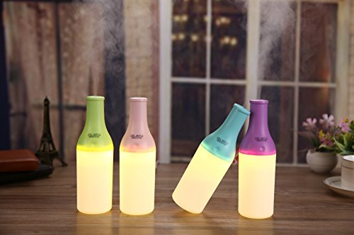180ml USB Aromatherapy Essential Oil Diffuser Portable Ultrasonic Cool Mist Aroma Humidifier with Color LED Light Waterless Auto Shut-off Function for Home Office Bedroom Room (Purple)