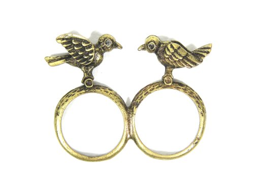 Magic Metal Kissing Love Birds Double Ring Size 6 Antique Gold Tone Canary Robins Cocktail RE36
