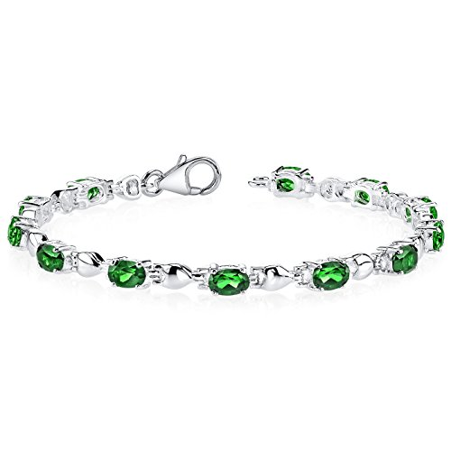 5.50 carats Oval Shape Simulated Emerald Bracelet Sterling Silver Rhodium Nickel Finish