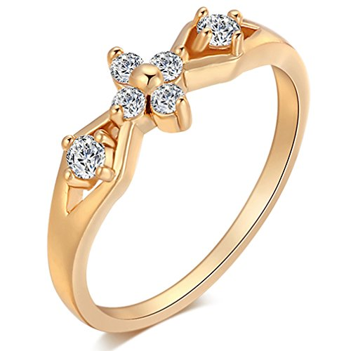 A.TATOON Wedding Cherry Ring Line Hollow 10K Yellow Gold Plated Cubic Zirconia (9)