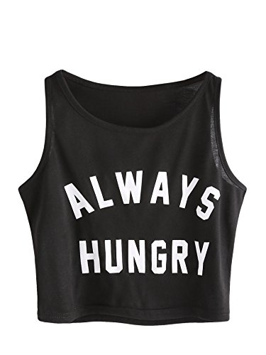SweatyRocks Women's Summer Sleeveless Letter Print Crop Tank Top Black - Crop Top Running