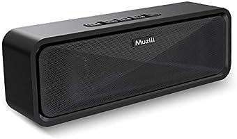 Muziliブルートゥース スピーカー ポーダブル Bluetooth スピーカー speaker 12時間連続再生 ペアリング簡単 耐久性 ハンズフリー通話 コスパ最高 日本語取扱説明書 18ヶ月安心保証(黒)