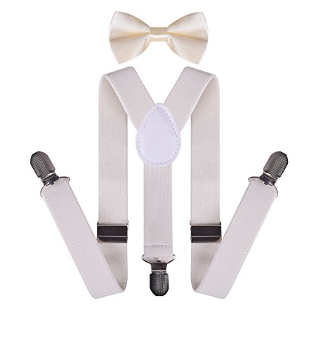 Adjustable Creamy white Suspenders for Kids Boys Bow Tie and Suspenders Set Creamy (Lumberjack Outfit Halloween)