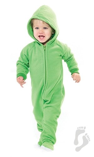 Footed Pajamas Emerald Green Infant Hoodie One Piece - Extra Large