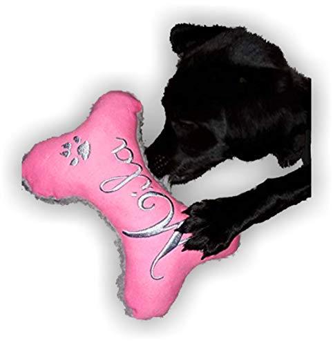 Hunde Spielzeug XXS XS S M L XL XXL Kissen Knochen Hundeknochen Quietscher Jeans PINK bestickt Name Wunschname Hundekissen personalisiert Unikat persönliches Geschenk Hundespielzeug