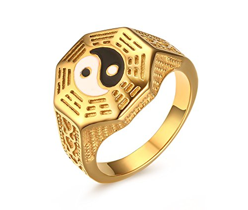 Mens Womens Stainless Steel Yin Yang Signet Ring for Taoism South Korean Size 7