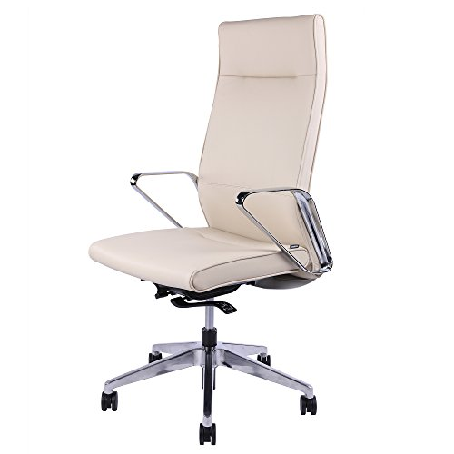 Sunon Ergonomic Office Chair High-Back Executive Chair Leather Upholstered Adjustable Office Desk Chair Ergonomic Computer Chair with 4-Position Locking Synchronized Tilting (High Back-White)