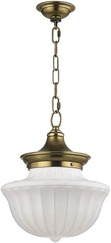 Hudson Valley Lighting 5012-AGB Dutchess – One Light Medium Pendant, Aged Brass Finish with White Glass