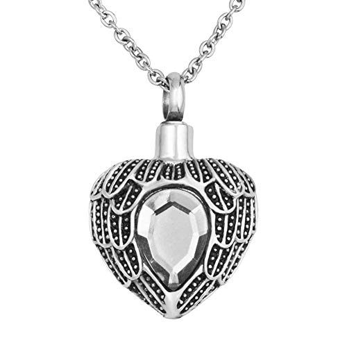 JewelryJo Angel Wing Love Heart Birthstone Style Urn Necklace Ashes Cremation Keepsake Pendant APR. ()