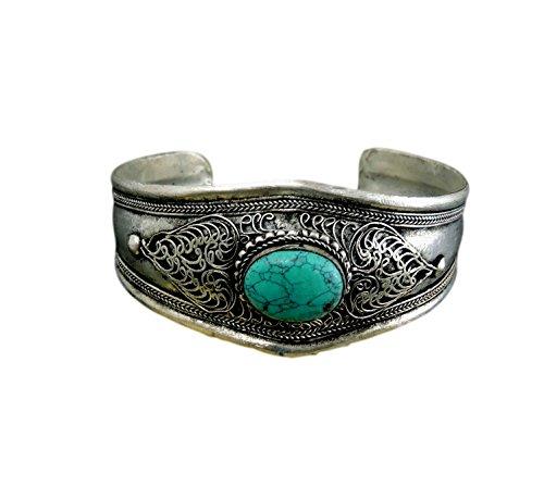 Tibetan Bangle Silver (Handmade Tibetan silver Medicine Bracelet From Nepal many choice (Turquoise))