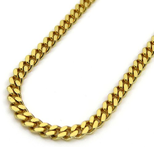 10K Yellow Gold Men Women's 6 MM Solid Miami Cuban Chain lobster Clasp, 18 to 24 Inches by Jawa Fashion