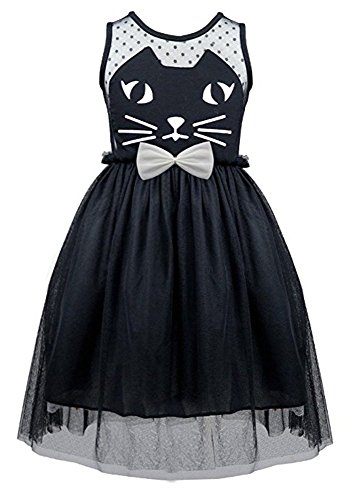 Little Girl Princess Pageant Costume Mesh Cat Tutu Bowknot Holiday Party Dress (Black Cat Dress)