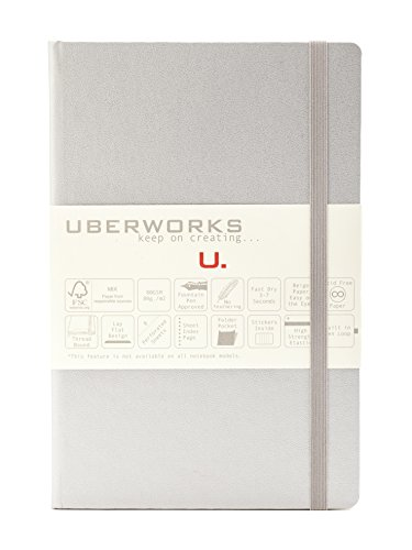 Elastic Notebook (2nd Gen. UBERWORKS TEHNIK Classic Silver-Chrome Hardcover Dotted/Dot Grid Elastic Closure Notebook/Bullet Journal A5 Medium 5.6x8.4in 192 Pages 80gr. Smooth Beige Paper, Index, Back Folder & Labels)