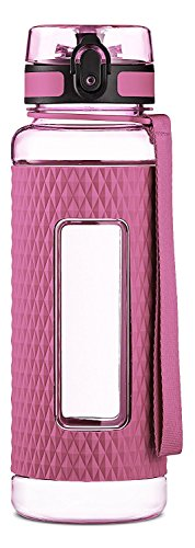 Swig Savvy Tritan Co-Polyester Sports Plastic Water Bottle with Silicone Sleeve, Filter and Leak-Free Flip Top, Pink, 32 oz.