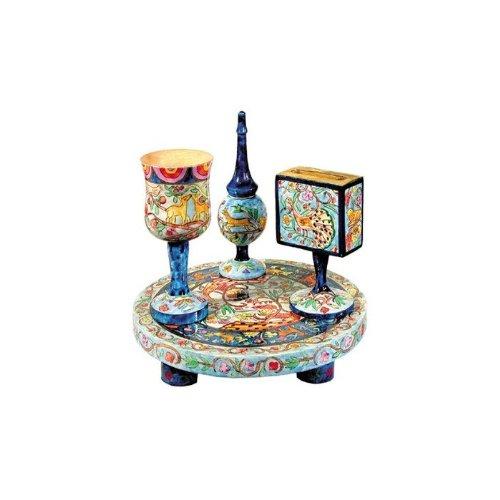 Yair Emanuel Painted Wood Havdalah Set with Middle Eastern-Inspired (Wood Havdalah Set)