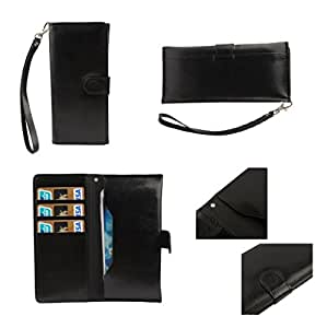 DFV mobile - Cover Premium Synthetic Leather with Card Case and Close by Magnet for => Spice Stellar Pinnacle Pro Mi-535 > Black