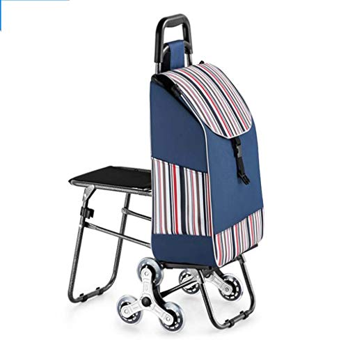 (DDHZTA Climbing Stairs Trolley Folding Portable Home with Stool seat Shopping cart Elderly Trolley car Shopping cart Small)