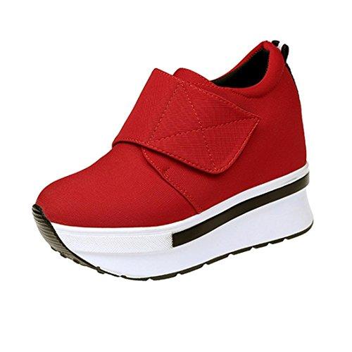 JIANGFU Lady/Plattform Schuhe/Plattform/Flache Schuhe/Freizeitschuhe, Frauen Wedges Stiefel Plateauschuhe Slip on Stiefeletten Mode Freizeitschuhe (40, Rot)