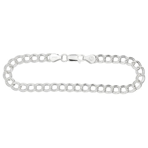 - Sterling Silver Five Millimeter Double Curb Link Traditional Charm Bracelet