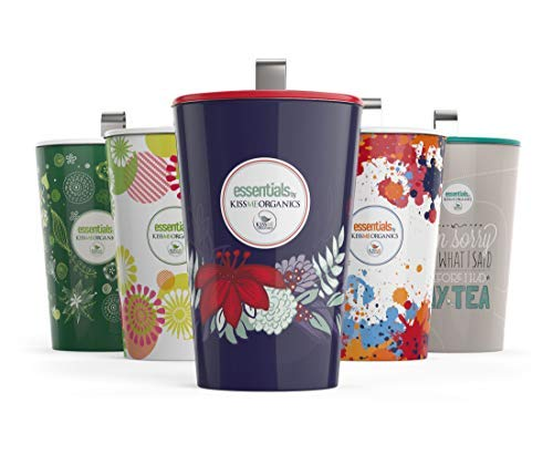 Steep & Strain Ceramic Tea Mug - Insulated Cup with Tea Infuser and Lid - Purple Floral |