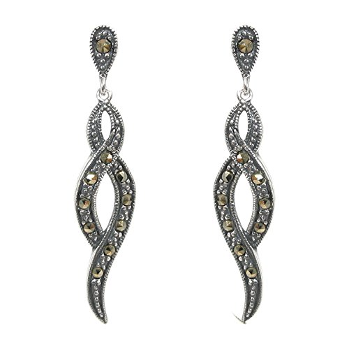 Antique Bali 925 Sterling Silver Marcasite Vintage Twist Curved Ribbon Flower Charm Dangle Pendant Chandelier Stud Post Drop Earring Gift Set
