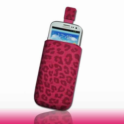 Handy Tasche Etui Hülle Wild Kunstleder pink Leo3-2 für Apple iPhone 5 / iPhone 5S / iPhone 5C