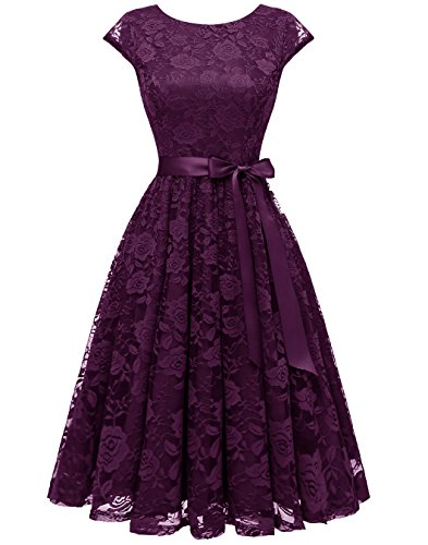 BeryLove Women's Floral Lace Short Bridesmaid Dress Cap Sleeve Cocktail Party Dress BLP7016Grape XS